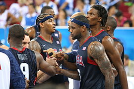 Beijing Olympics Men's Semifinal Basketball USA huddle.jpg
